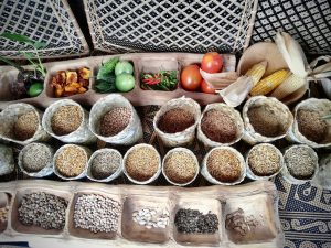 Local rice, seeds, and fruit
