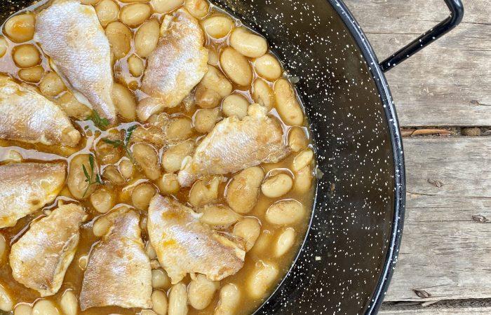 Feijão de Alubia com peixe patella